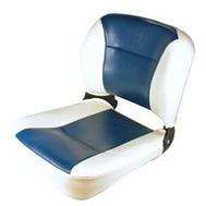 Сиденье складное мягкое бело-синее с низкой спинкой