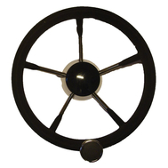 Рулевое колесо 5-ти спиц-ое, диам 280 мм сер, нерж сталь, с круглой ручкой