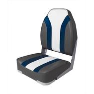 Сиденье мягкое складное High Back Rainbow Boat Seat, чёрно-белое