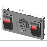 Панель электрическая 2 переключателя и розетка