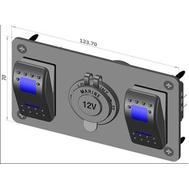 Панель электр 2 перекл и розетка двойная подсветка
