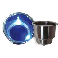 Подстаканник нерж. с синей подсветкой 108Х83 мм.