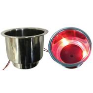 Подстаканник нерж с красной подсветкой 108Х83 мм