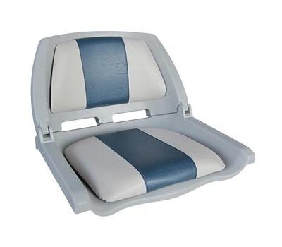 Сидение складное серое с подушками серо-голубого цвета - фото