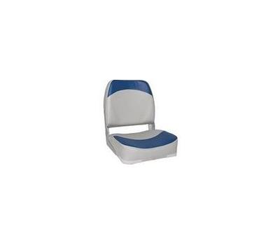 Сидение мягкое серо-синее складное (низкая спинка) - фото
