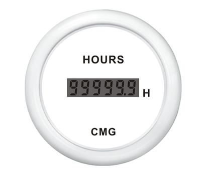 Счётчик моточасов цифр белый с белой окант 52 мм - фото