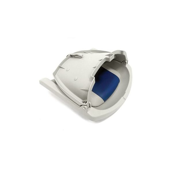 Сидение складное серое с подушками серо-голубого цвета - фото 2